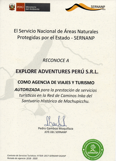 Inca Trail Licenced Operator